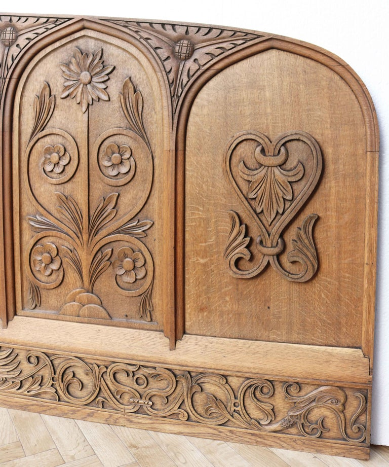 Antique Carved Oak Over-Mantle or Headboard In Fair Condition For Sale In Wormelow, Herefordshire