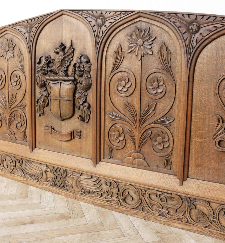 19th Century  Antique Carved Oak Over-Mantle or Headboard For Sale