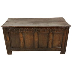 Antique Carved Oak Plank Coffer, 18th Century, Blanket Box, Trunk, 1770s