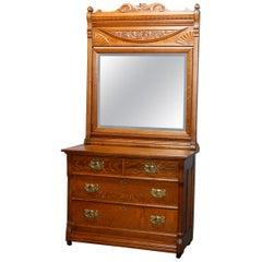 Antique Carved Oak RJ Horner School Four-Drawer Dresser with Mirror, Circa 1900