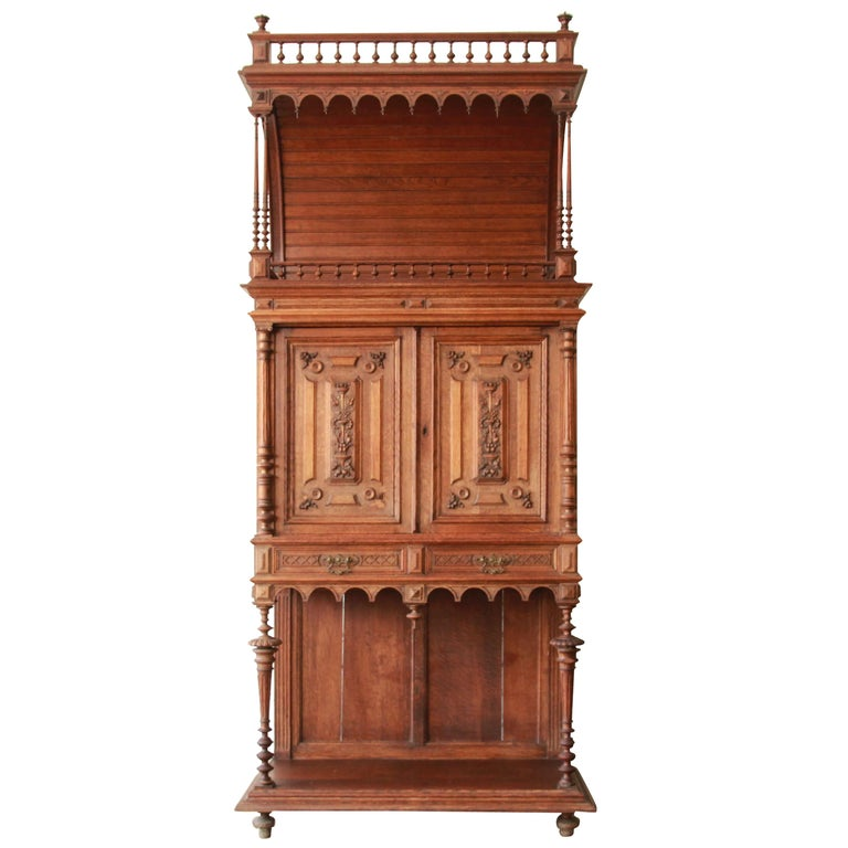 Antique Carved Oak Tall French Bar Cabinet For Sale At 1stdibs