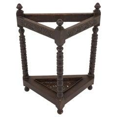 Antique Carved Oak Triangular Stick Stand and Tray, Scotland 1890, B2242