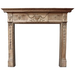 Antique Carved Pine Fire Surround