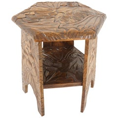 Antique Carved Plant Stand, Side Table, Liberty's London, Japan, 1905