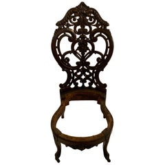 Antique Carved Rosewood Slipper Chair, circa 1860