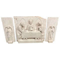 Antique Carved Set of Marble Gothic Altar Panels w Christ and Disciples & Angels