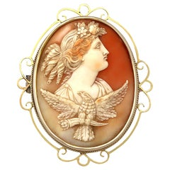 Antique Carved Shell and Yellow Gold Cameo Brooch, circa 1880