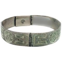 Antique Carved Silver Bracelet W/ Aztec Design