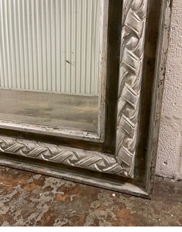 Antique Carved & Silver Gilded Mirror For Sale 5