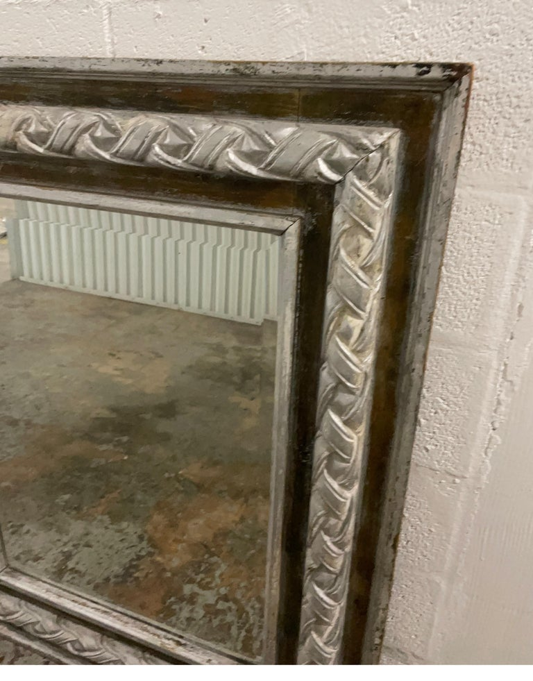Antique Carved & Silver Gilded Mirror For Sale 6
