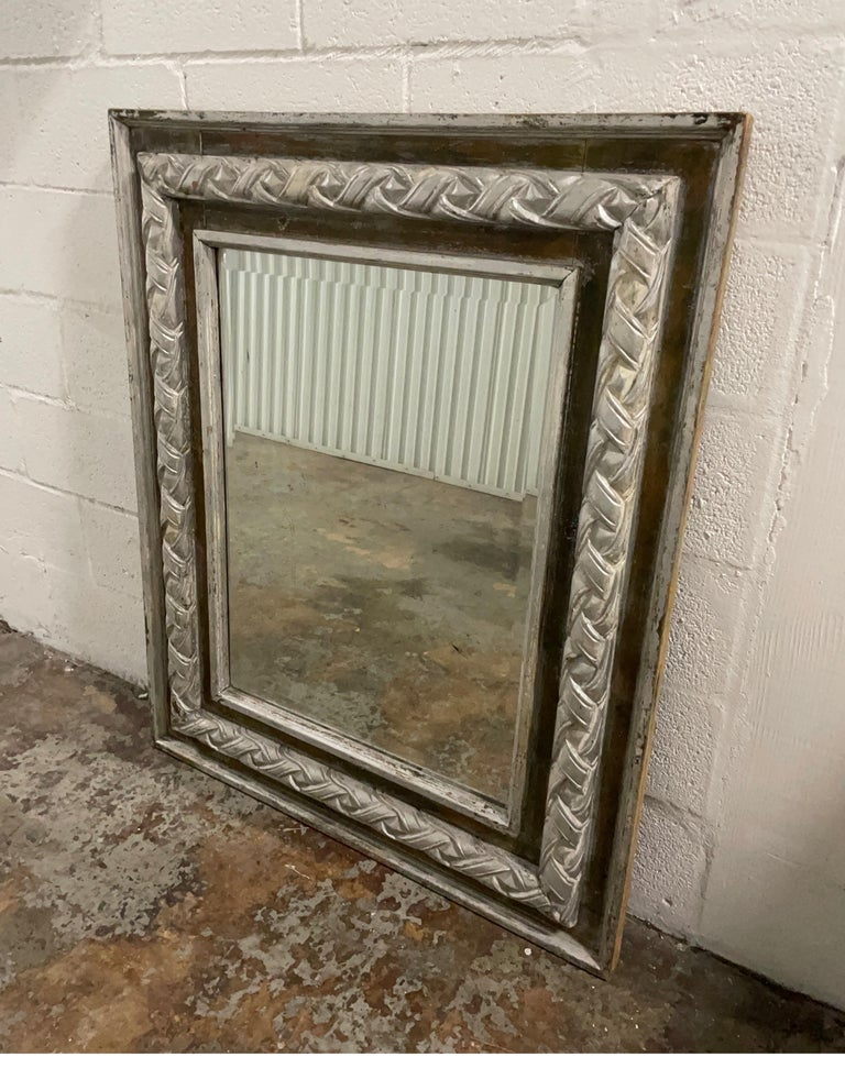 Antique Carved & Silver Gilded Mirror In Good Condition For Sale In West Palm Beach, FL
