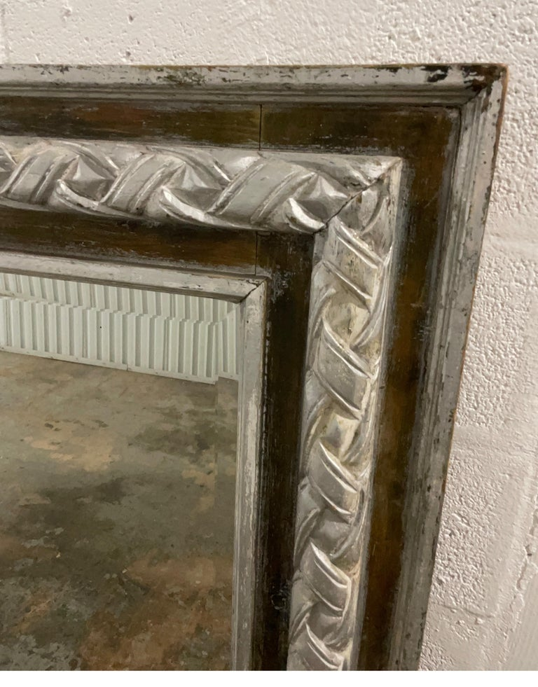 19th Century Antique Carved & Silver Gilded Mirror For Sale