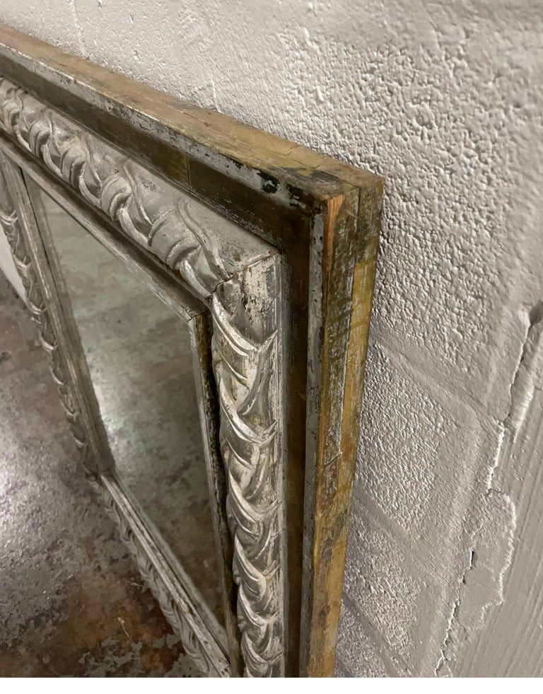 Giltwood Antique Carved & Silver Gilded Mirror For Sale