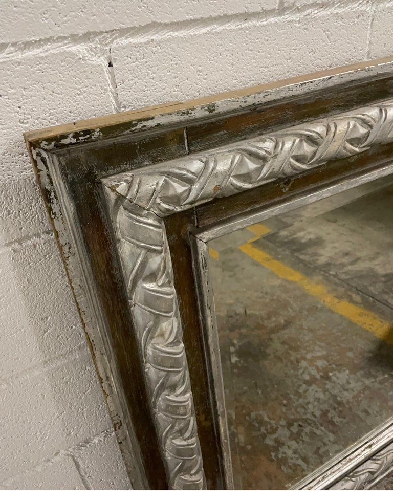 Antique Carved & Silver Gilded Mirror For Sale 1