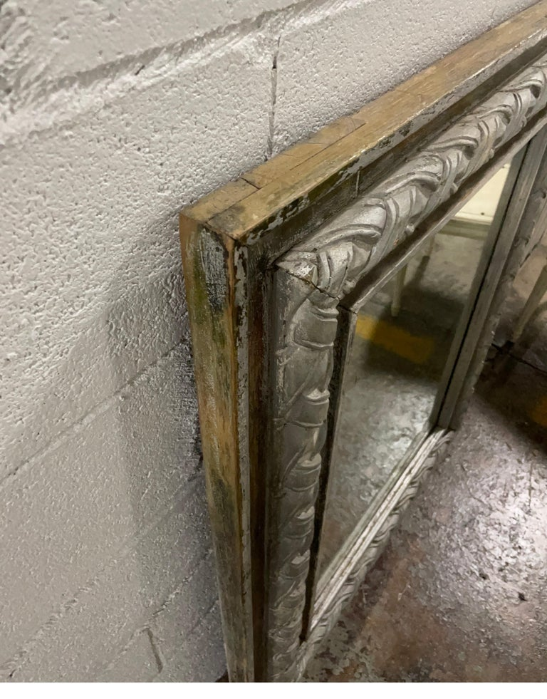 Antique Carved & Silver Gilded Mirror For Sale 2