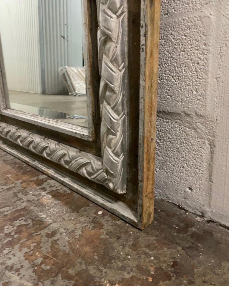 Antique Carved & Silver Gilded Mirror For Sale 4