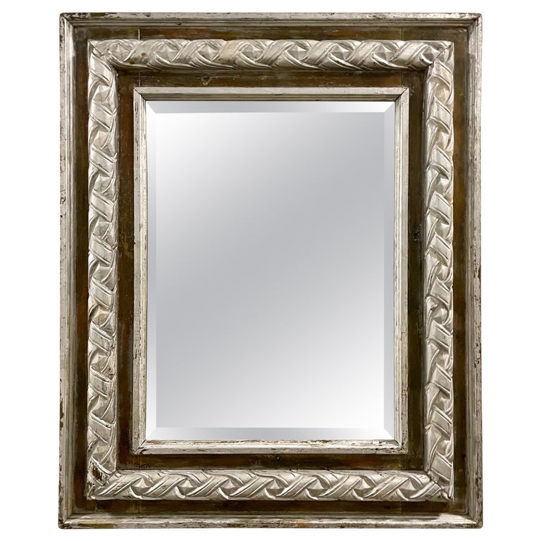 Antique Carved & Silver Gilded Mirror For Sale