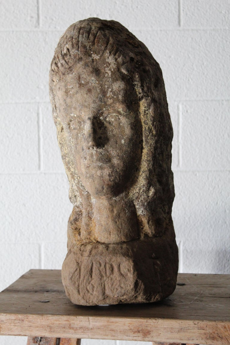 French Antique Carved Stone Female Bust For Sale