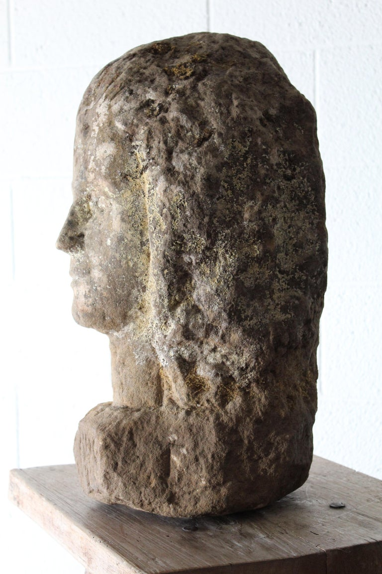 18th Century and Earlier Antique Carved Stone Female Bust For Sale