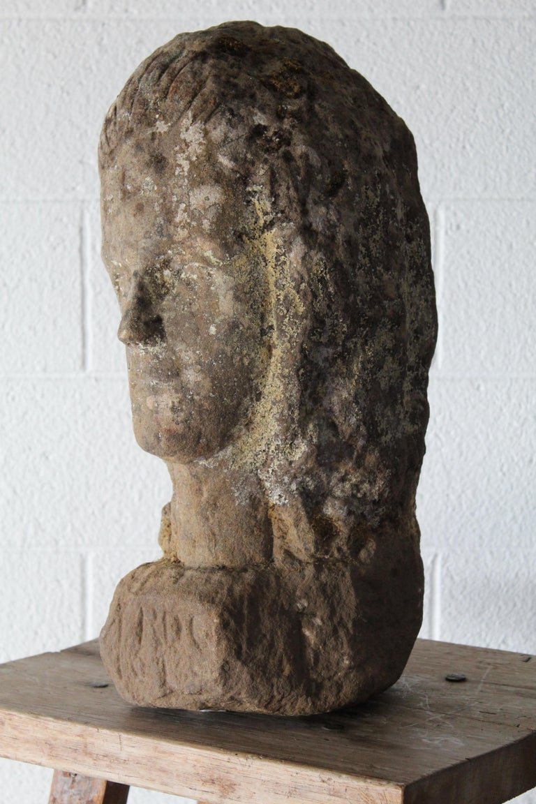 Antique Carved Stone Female Bust For Sale 1