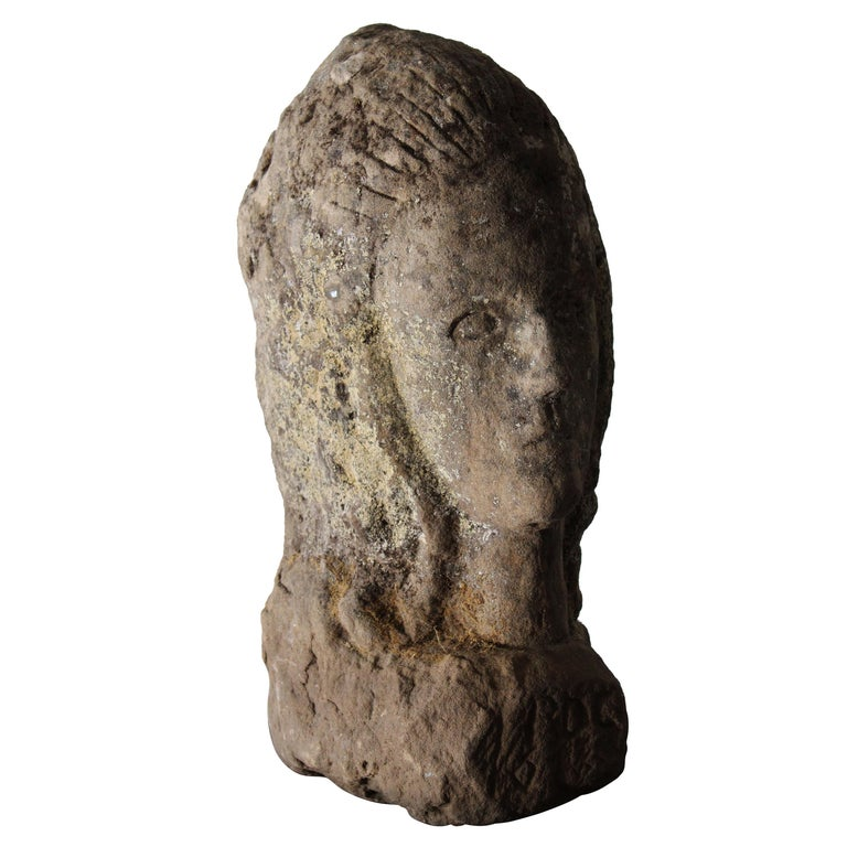 Antique Carved Stone Female Bust For Sale