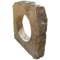 Antique Carved Stone Window Surround Wall Fountain Back Sculpture Fire Pit LA CA