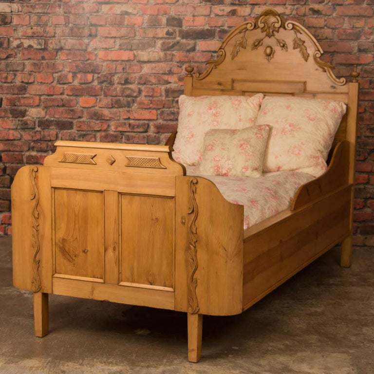 Antique Carved Swedish Twin Pine Bed For Sale At 1stdibs