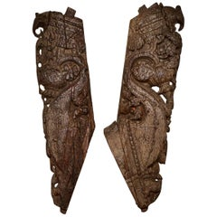 Antique Carved Teak Brackets / Corbels, 20th Century