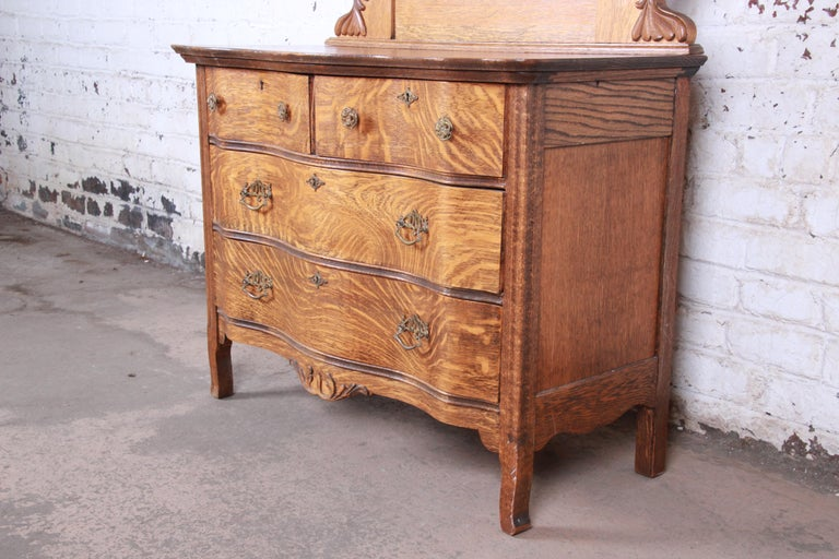 American Antique Carved Tiger Oak Dresser with Mirror, circa 1900 For Sale