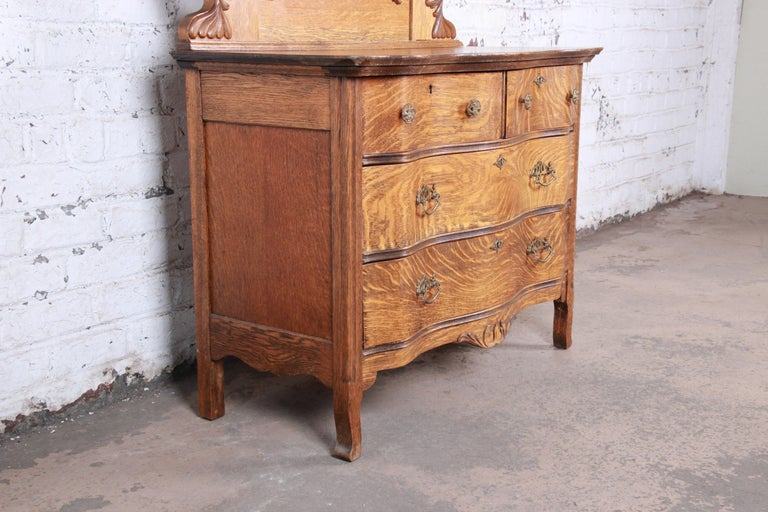 Antique Carved Tiger Oak Dresser with Mirror, circa 1900 For Sale 1