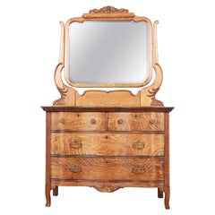 Antique Carved Tiger Oak Dresser with Mirror, circa 1900