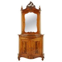 Antique Carved Vitrine, Carved Walnut, Austria 1880, Antique Furniture