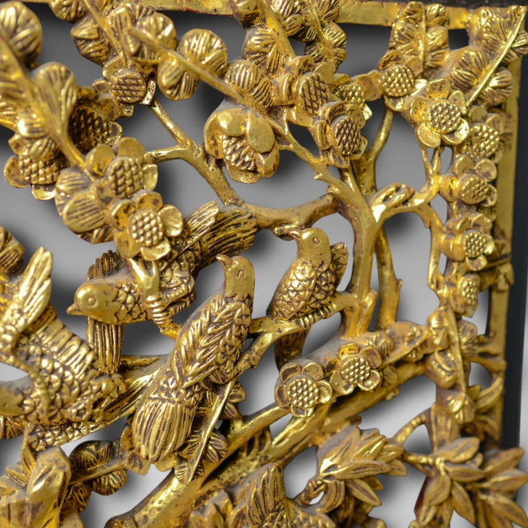 Chinese Export Antique Carved Wall Panel, Chinese, Giltwood, Decorative, circa 1900 For Sale