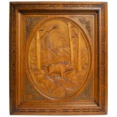 Antique Carved Walnut Black Forest Plaque
