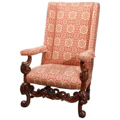 Antique Carved Walnut Continental Baroque Upholstered Tall Fireside Chairs