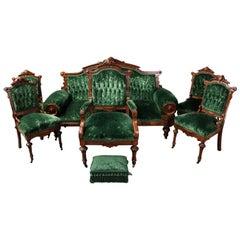 Antique Carved Walnut Eastlake Six-Piece Parlor Set with Velvet Upholstery