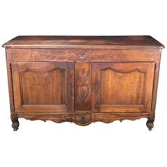 Antique Carved Walnut French Provincial Sideboard Cabinet