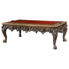 Antique Carved Walnut Library Table of Large Proportions