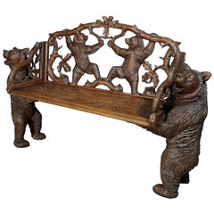Antique Carved Wood Bear Bench, Swiss Brienz, circa 1900