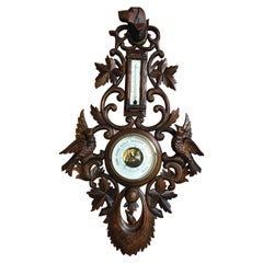Antique Carved Wood Black Forest Dog Hound Hunt Barometer Bird Coat Rack