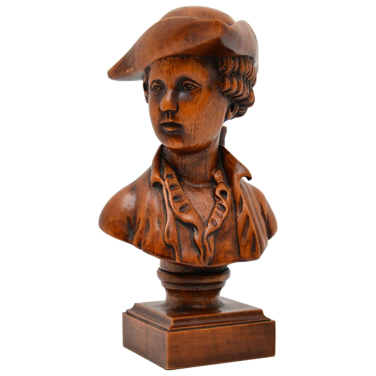 Antique Carved Wood Bust of a Sailor