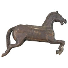 Antique Carved Wood Carousel Horse Sculpture