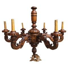Antique Carved Wood Chandelier Lighting Fixture Spanish Renaissance Revival