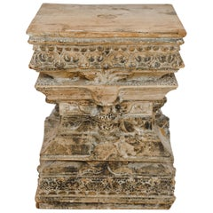 Antique Carved Wood Column Capital