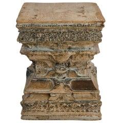 Antique Carved Wood Column Capital