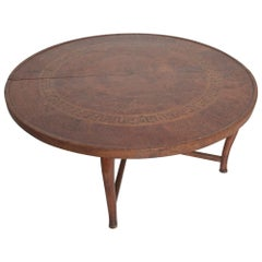 Antique Moroccan Round Coffee Table Stylish Legs Exotic Carved Wood Marquetry