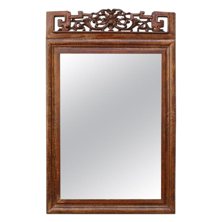 Antique Carved Wood Mirror, Asian Style Pediment, circa 1900