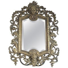 Antique Carved Wood Mirror, France, circa 1900