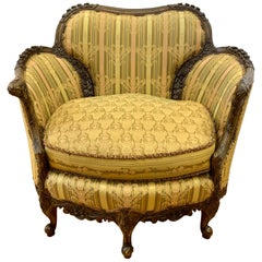 Antique Carved Wood Reading Chair Armchair