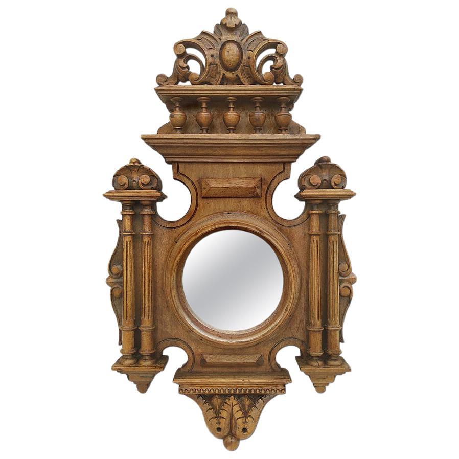 Antique Carved Wood Round Mirror, Renaissance Style, circa 1930
